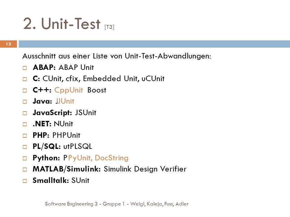 2. Unit-Test [T3] Ausschnitt aus einer Liste von Unit-Test-Abwandlungen: ABAP: ABAP Unit. C: CUnit, cfix, Embedded Unit, uCUnit.